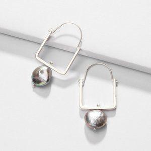 Anthropologie Pearl Hoop Drop Earrings Silver